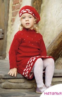 вязанная спицами юбка для девочки