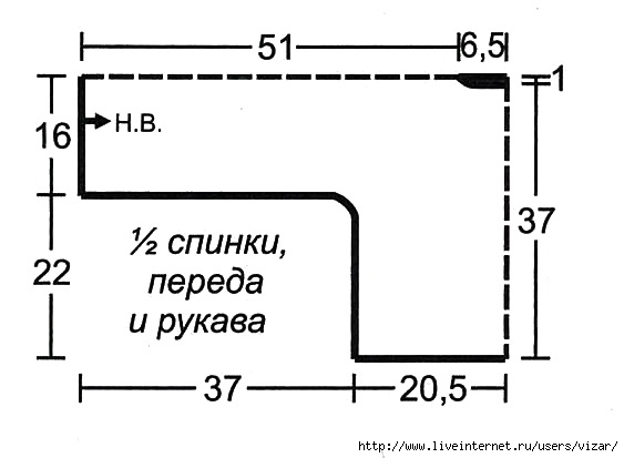 схема кофты с бахромой