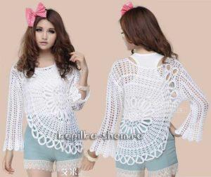 Ажурная асимметричная блуза крючком. Схемы вязания, видеоурок