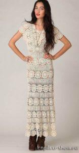 Шикарное длинное платье крючком. Описание, схемы вязания