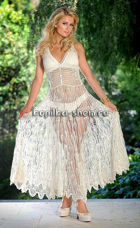 Пэрис Хилтон / Paris Hilton в шикарном вязаном платье. Схемы