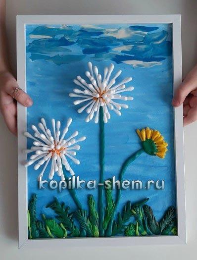 цветок из ватных палочек