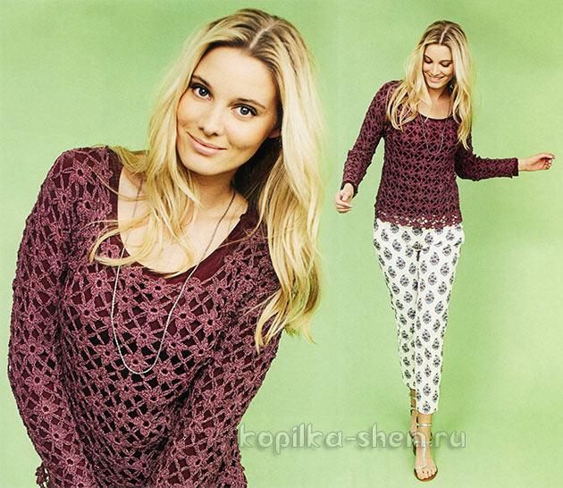 Ажурный пуловер из цветочных мотивов. Описание, схемы вязания