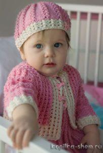 жакет, шапочка и платье для девочки схема и описание