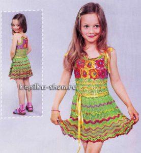 описание платье крючком для девочки
