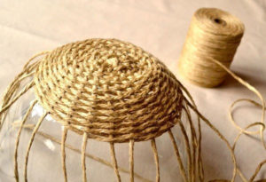 вязание корзин +из джутового шпагата