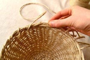 вязание корзин +из джутового шпагата крючком