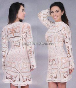 платье связанное крючком для женщин