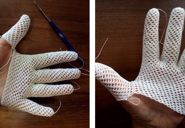 перчатки связанные крючком