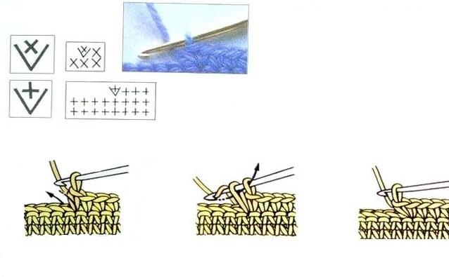 схема Два столбика без накида из одного
