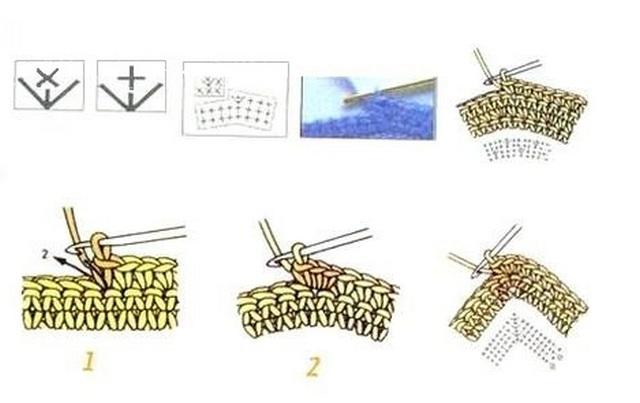 схема Три столбика без накида из одного