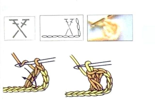 схема Два столбика с накидом, перекрещенных влево