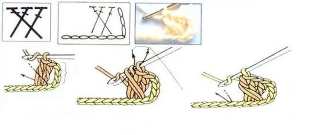 схема Перекрещенные столбики с накидом: 2 на 1 вправо