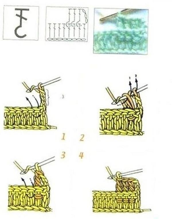 схема Столбик с накидом за столбик нижнего ряда сзади