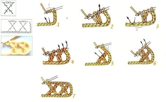 схема Крестик из четырех столбиков с накидом