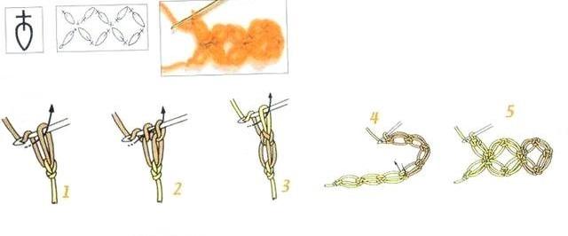 схема Крестик из вытянутых воздушных петель