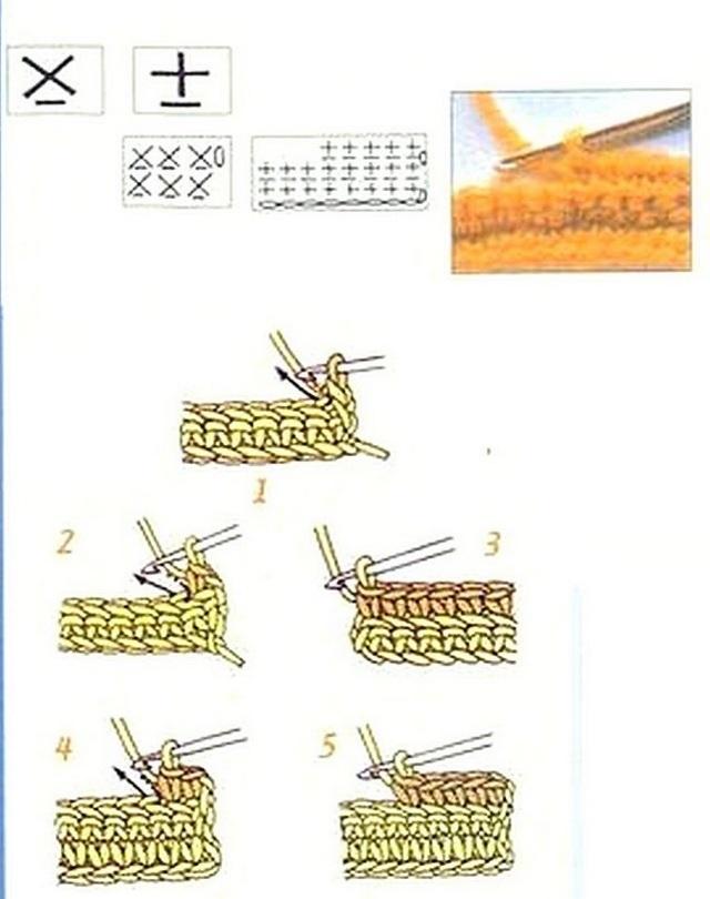 схема Столбики без накида под переднюю стенку косички нижнего ряда