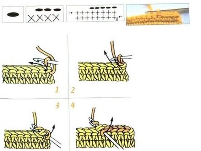 схема Полустолбик без накида (или косичка поверх косички нижнего ряда)