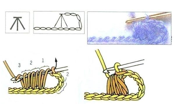 схема Три полустолбика с накидом вместе