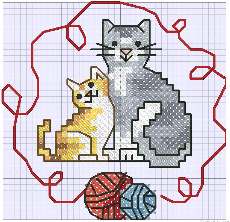 вышивка котов крестиком схемы