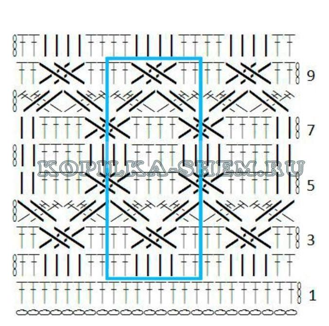 узоры рельефными столбиками крючком схемы