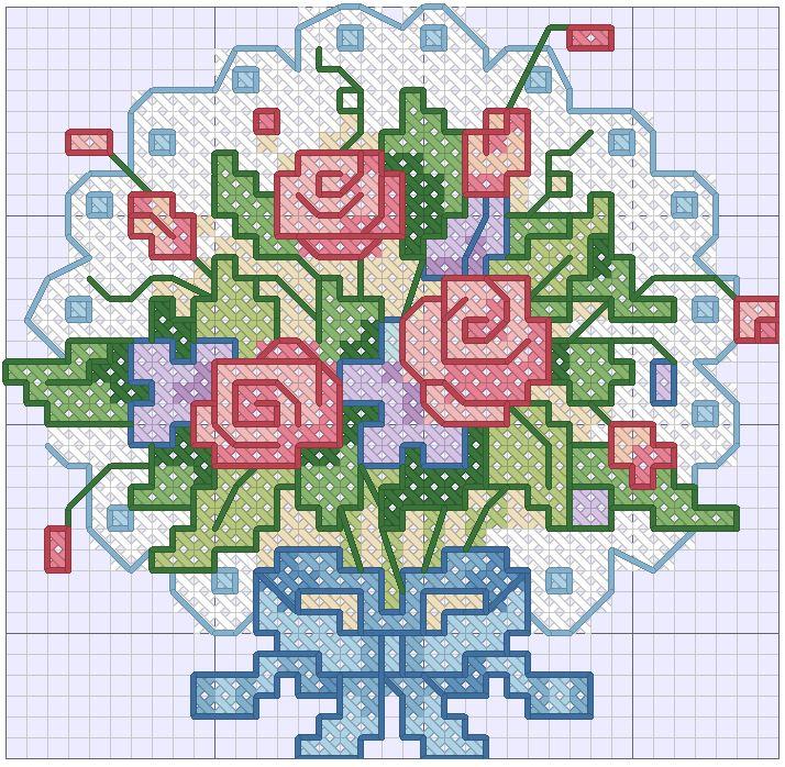 схема вышивки крестиком для начинающих цветы
