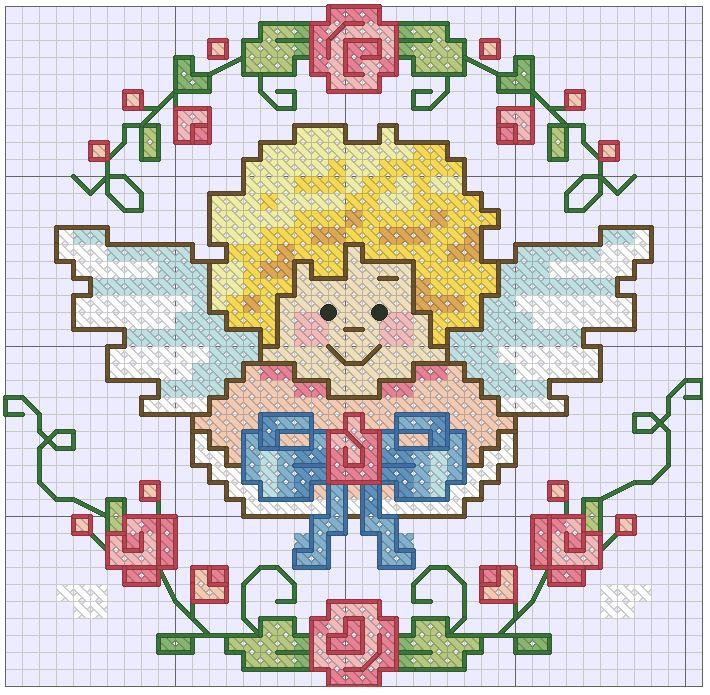 схемы для вышивки крестиком маленькие ангел