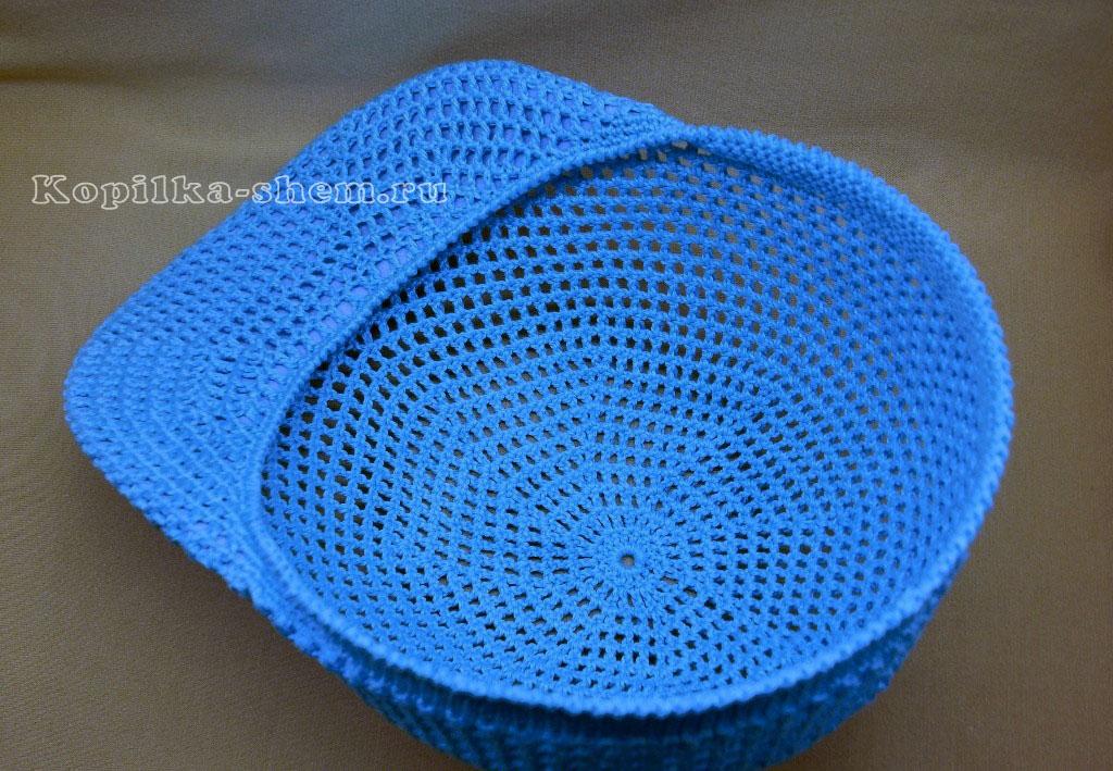 вязание козырька +для кепки крючком