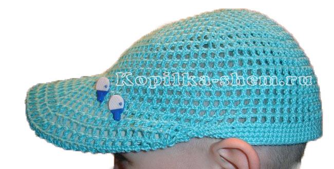вязание крючком летней кепки