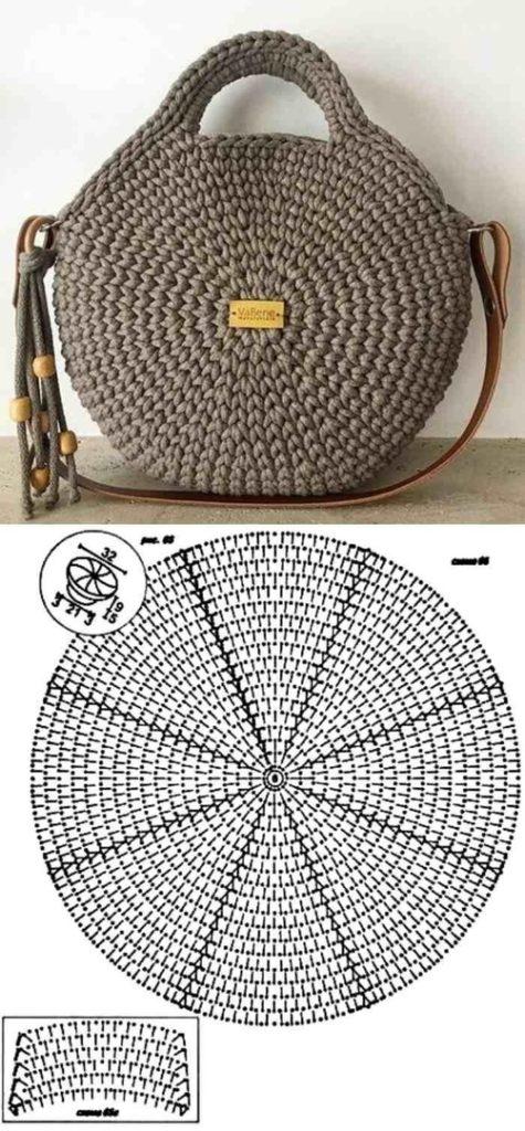 вязаная круглая сумка +из трикотажной пряжи