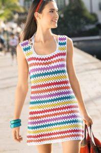 платье мини крючком