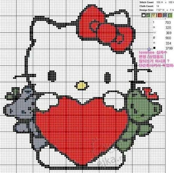 Hello Kitty вышивка схема